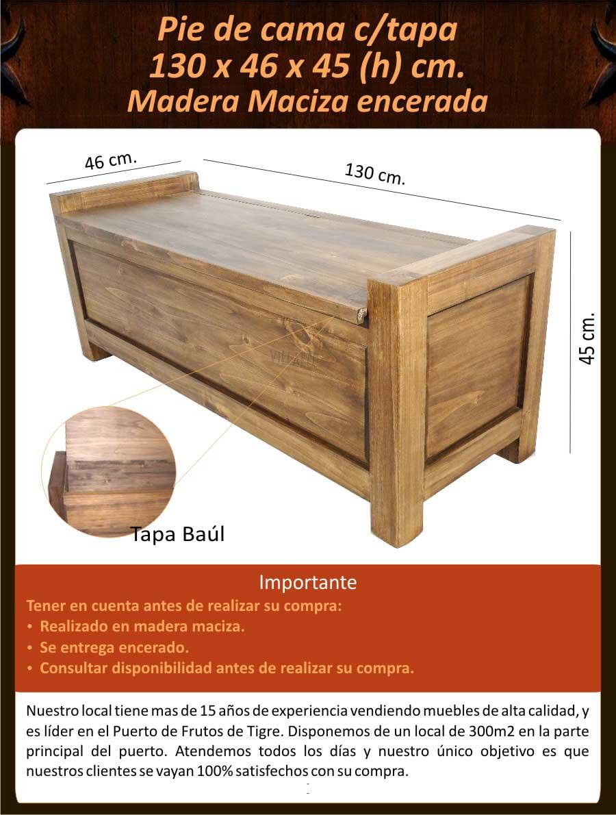 Pie De Cama Ba L Madera Maciza Encerada 6 540 00 En Mercado  # Muebles Pie De Cama